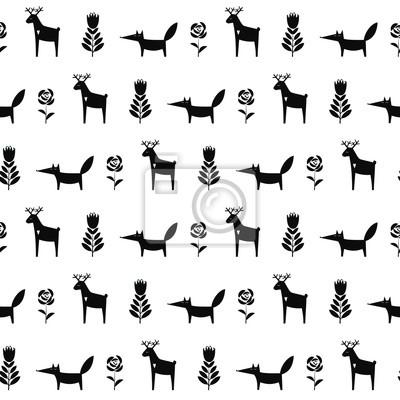 Fototapete Schwarz-Weiß-Hirsch mit Fuchs und Frühling Blumen nahtlose Muster. Nette Karikatur Natur Hintergrund. Kind Zeichnung Stil Tier Illustration. Frühlingsentwurf für Textil-, Tapeten-, Stoff-