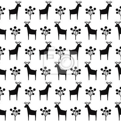 Fototapete Schwarz-Weiß-Hirsche mit Beeren nahtlose Muster. Weihnachten Stil Tier illustration.Cute Cartoon Natur Hintergrund. Einfache Weihnachtsentwurf für Gewebe, Tapete, Gewebe.