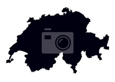 Schweiz Karte Schwarz Weiss.Fototapete Schwarz Weiss Karte Der Schweiz