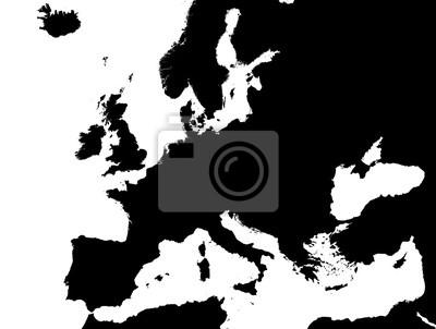 Karte Europa Schwarz Weiss.Fototapete Schwarz Weiss Karte Von Europa