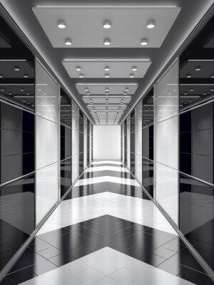Fototapete Schwarz-Weiß-Korridor.