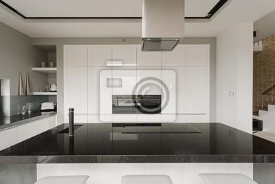Schwarz-weiß-küche interieur fototapete • fototapeten Arbeitsplatte ...