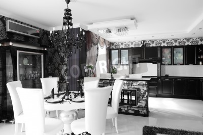 Fototapete: Schwarz-weiß-luxus-küche interieur mit modernen möbeln