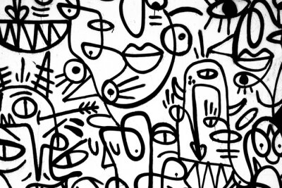 Fototapete Schwarz-Weiß-Muster Graffiti an der Wand. Spanien, Jerez, Januar 2018. Interessante Hintergrund