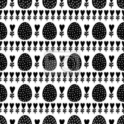Fototapete Schwarz-Weiß nahtlose Ostern Muster, Karte. Vector Hintergrund mit Ostereiern, Frühlingsblumen und Herzen. Nette Ostern Illustration auf weißem Hintergrund.