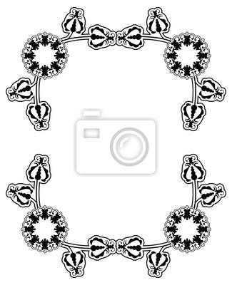 Schwarz-weiß-rahmen mit blumen silhouetten. platz kopieren vektor ...