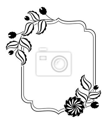Fototapeteschwarz Weiss Clipart Rahmen Mit Silhouettenvektor