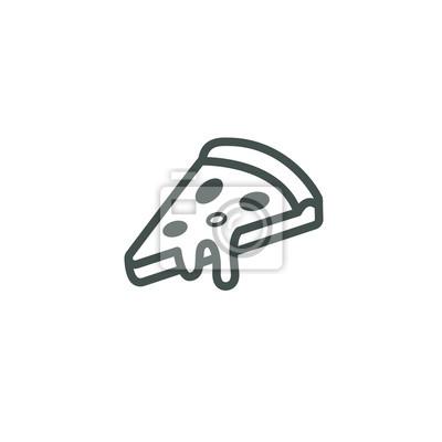 Schwarz Weiß Rahmenlose Lineare Symbol Einer Scheibe Pizza