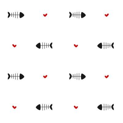 Fototapete Schwarz Weiß Rot Nahtlose Vektor Muster Hintergrund Illustration
