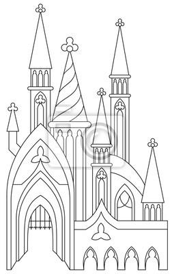 Schwarz-weiß-seite zum ausmalen. fantastische mittelalterliche ...