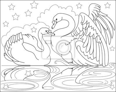Schwarz-weiß-seite zum ausmalen. zeichnung von schönen schwänen ...