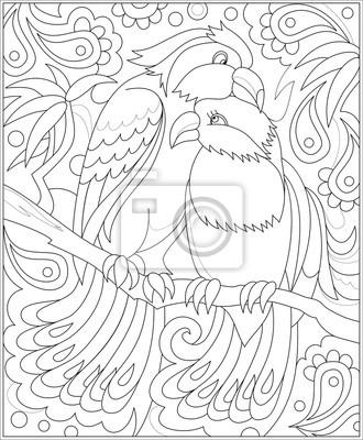 Schwarz-weiß-seite zum färben. fantasie zeichnung von paar vögel ...