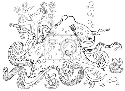 Schwarz-weiß-seite zum färben. fantasiezeichnung des oktopus ...