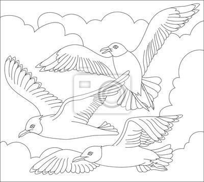 Schwarz-weiß-seite zum färben. fantasy zeichnung von fliegenden ...