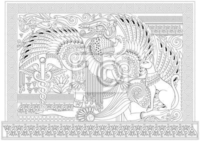 Schwarz-weiß-seite zum färben. zeichnung der schönen ägyptischen ...