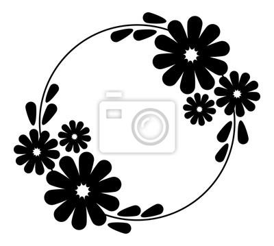 Schwarz-weiß-silhouette runder rahmen mit dekorativen blumen ...