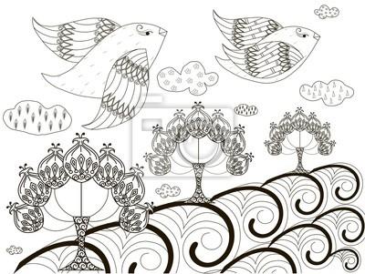 Schwarz Weiss Skizze Des Hintergrundes Fliegende Vogel Stilisierte