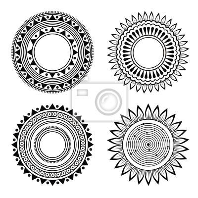 Fototapete schwarz weiß muster  Schwarz-weiß-symmetrische henna muster fototapete • fototapeten ...