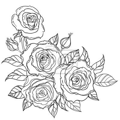 schwarz wei tattoo stil rosen mit bl ttern isoliert auf wei em fototapete fototapeten. Black Bedroom Furniture Sets. Home Design Ideas