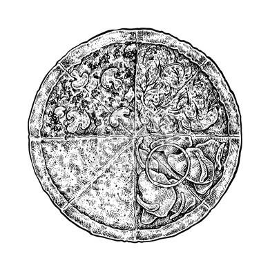 Schwarz Weiß Vintage Skizzenhaften Stil Illustration Einer Pizza