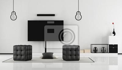 Schwarz-weiß-wohnzimmer mit tv fototapete • fototapeten Betkissen ...