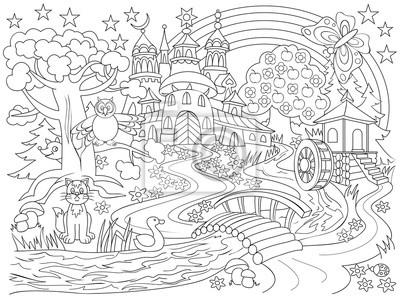 Schwarz-weiß-zeichnung von märchenland land. illustration der ...