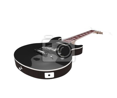 Schwarze e-gitarre auf weißem hintergrund fototapete • fototapeten E ...