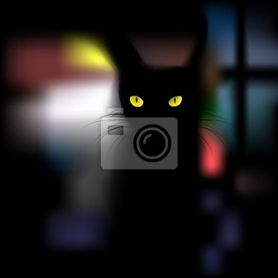 Schwarze Katze mit gelben Augen auf Fenster Hintergrund, Vektorillustra