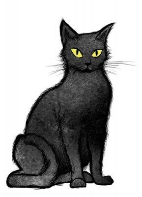 Fototapete Schwarze Katze sitzt und schaut in die Kamera
