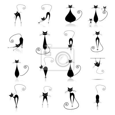 Schwarze Katzen Silhouette für Ihr Design