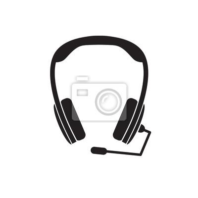 Schwarze kopfhörer mit mikrofon symbol - vektor-illustration ...