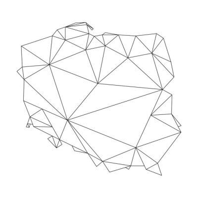 Polen Karte Umriss.Fototapete Schwarze Polygonale Umrisse Der Vektor Karte Von Polen