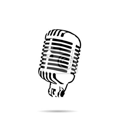 Schwarze silhouette retro bühne mikrofon-symbol vektor- fototapete ...