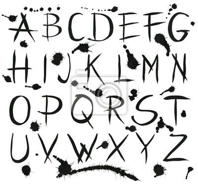 Schwarze Tinte Alphabet Buchstaben mit Spritzern.