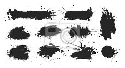Fototapete Schwarze Tintenflecken auf weißem Hintergrund. Tintenabbildung.
