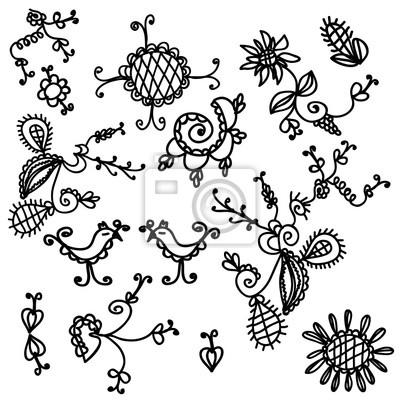 Schwarze und weiße Blumen lustige Design-Elemente