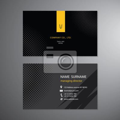 Schwarze Visitenkarten Set Design Vorlage Vektor Fototapete