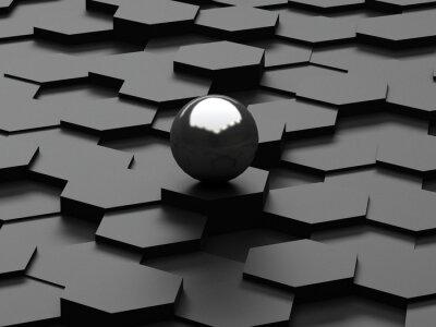 Fototapete Schwarzer Hintergrund der 3d Sechsecke und Stahlkugel