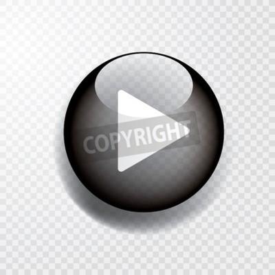 Fototapete schwarzer transparenter Spielknopf mit Schatten, Ikone