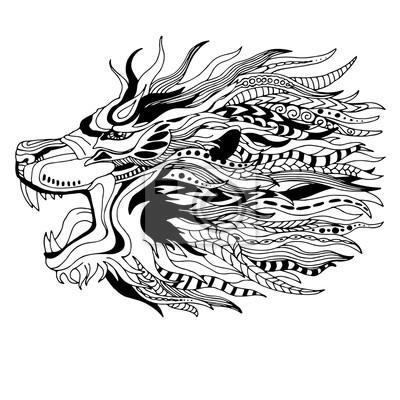 Schwarzer Weißer Löwenkopf Zenkunstart Tätowierungentwurf