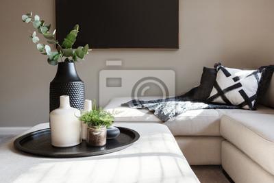 Fototapete Schwarzes Akzent Dekor in einem Luxus Familien Wohnzimmer