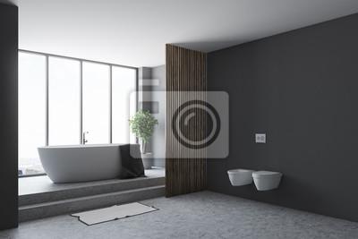 Schwarzes Badezimmer Badewanne Und Toiletten Fototapete