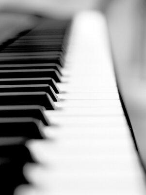 Fototapete Schwarzes Klavier close up Unschärfe Hintergrund und Vordergrund.