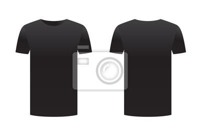 3724ba159de80c Fototapete Schwarzes T-Shirt Schablone Shirt isoliert auf weißem  Hintergrund Vorder-und Rückseite Design