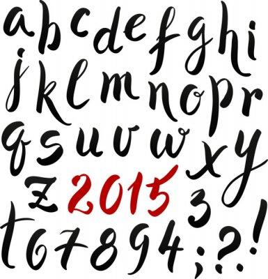 Schwarzes und rotes Handschriftbeschriftungsalphabet
