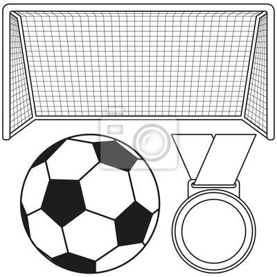Fototapete Schwarzweiss Fußball Tor Medaillenikonensatz