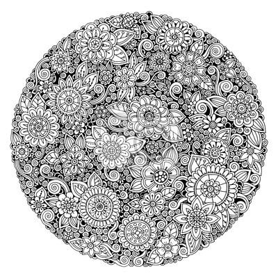 Schwarzweiss-kreisblumenverzierung, ornamentaler runder ...
