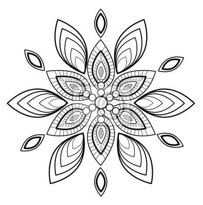 Schwarzweiss Mandala Vektor Für Die Färbung Mandala Bianco E