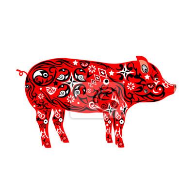 Schwein Mit Einem Muster Die Eine Illustration Eines Mumps