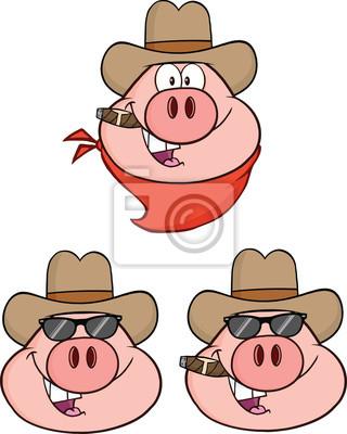 Schweinekopf Cartoon Figuren Ein Collection Set Fototapete